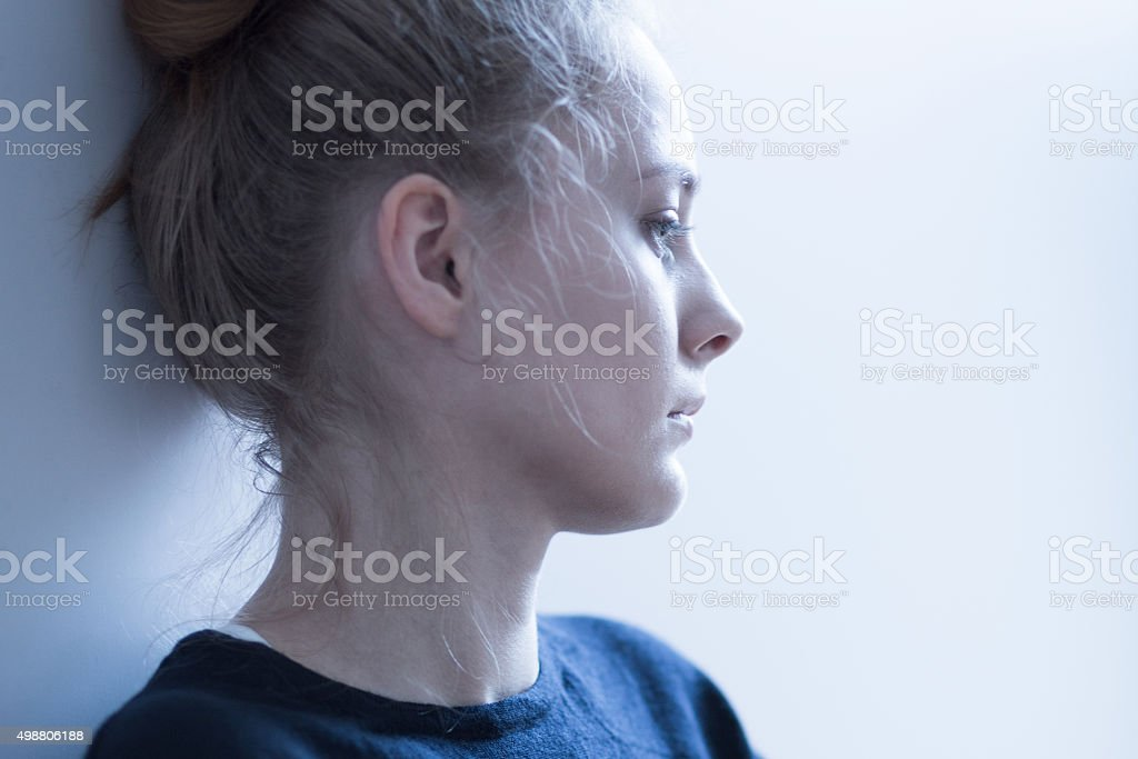Female with mental problems stock photo