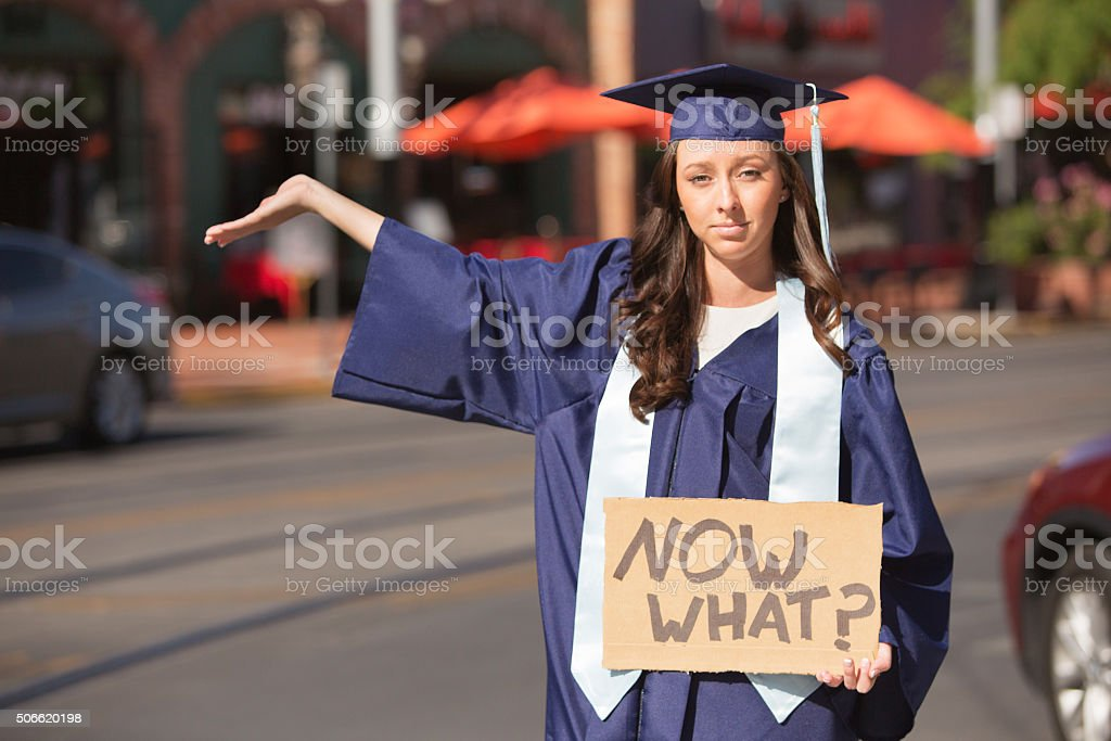 Female with Now What Sign stock photo