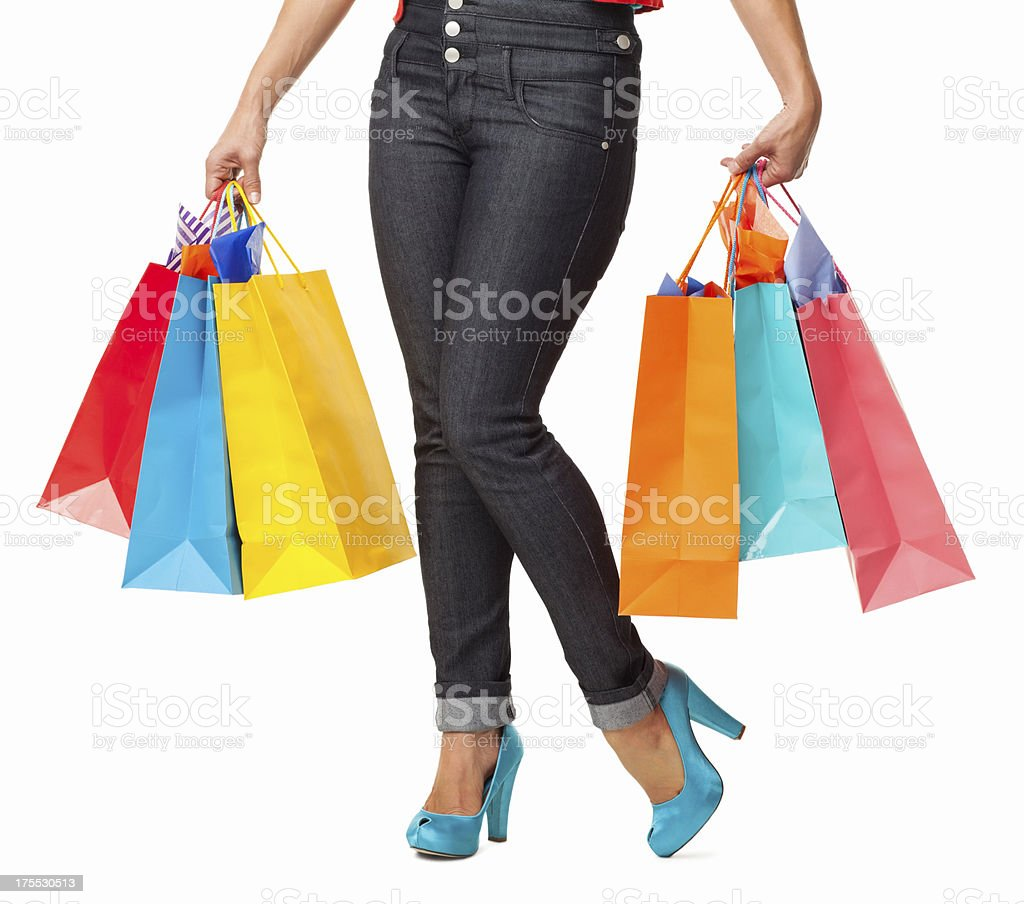 Female With Shopping Bags - Isolated royalty-free stock photo