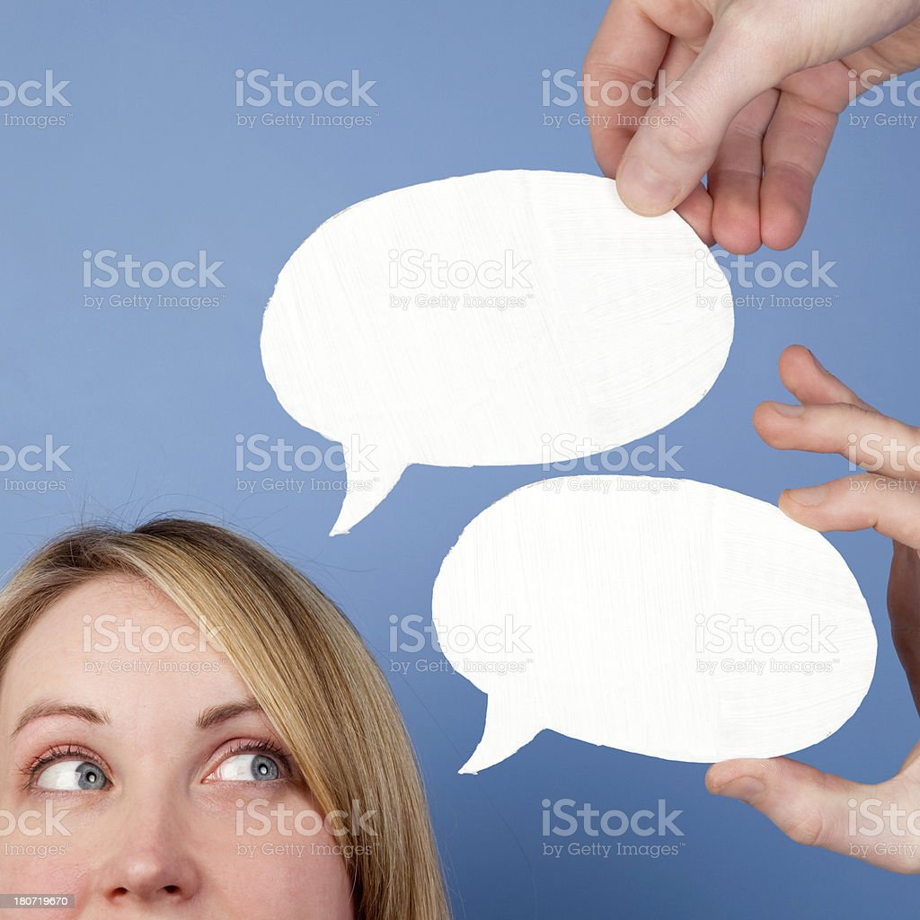 Female with speech bubble royalty-free stock photo