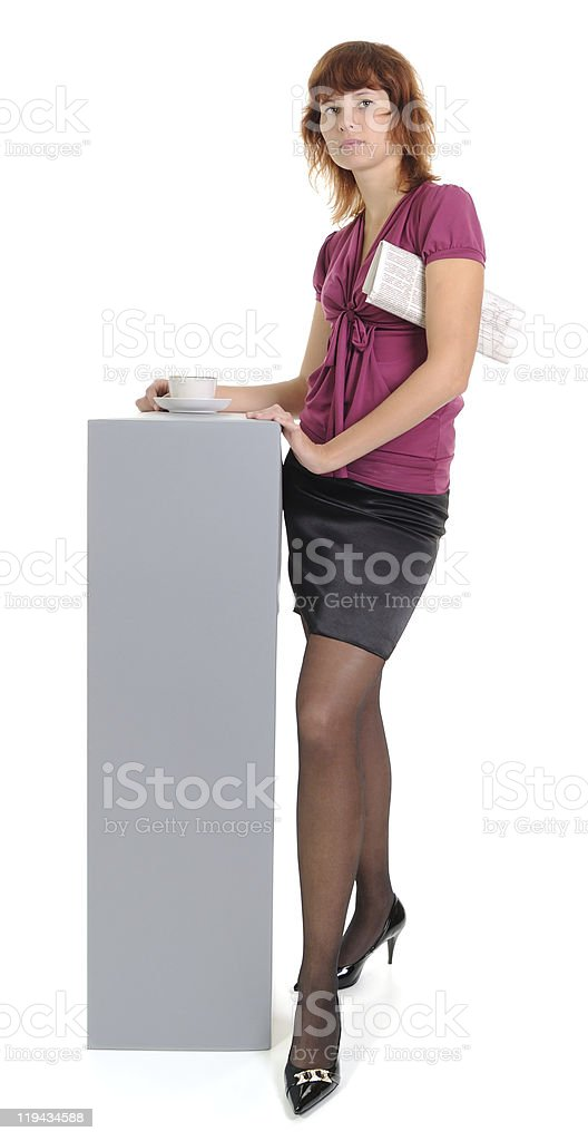 Female with the newspaper and a cup royalty-free stock photo