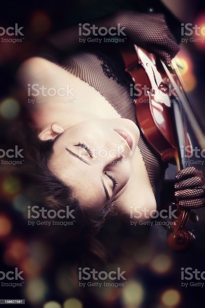 Female with violin stock photo