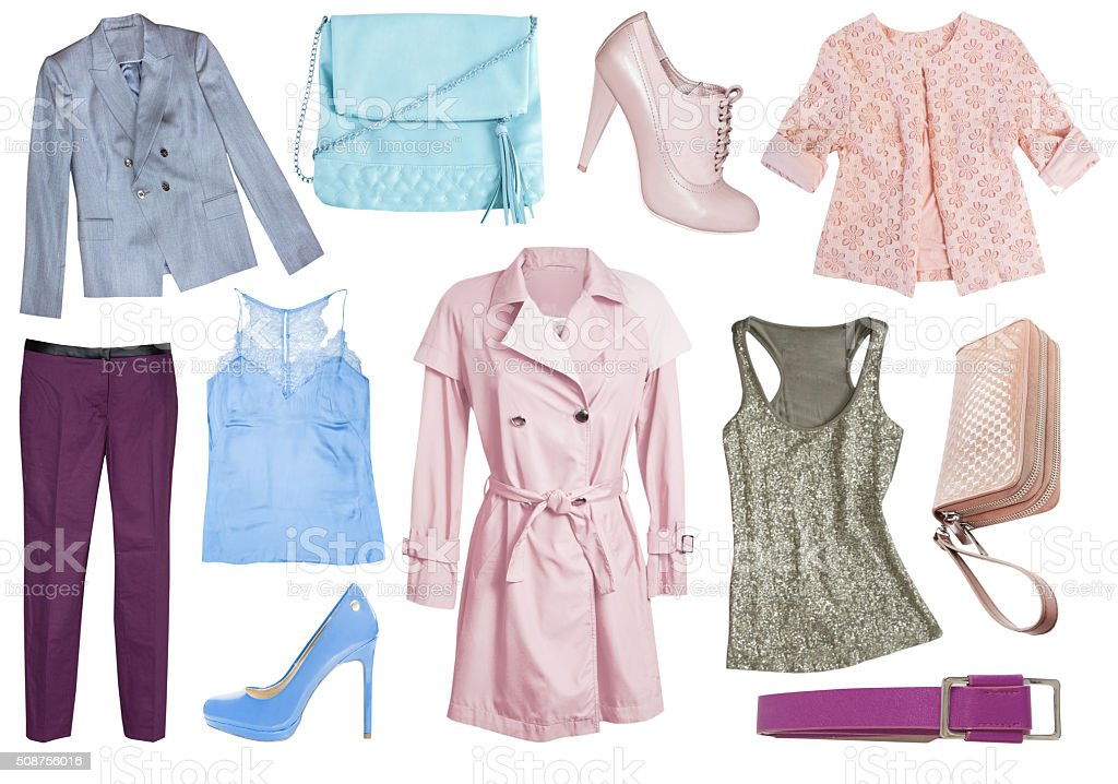 Female woman clothes set collage isolated. stock photo