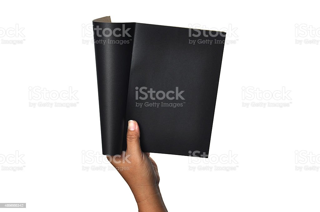 female woman hand hold a empty blank black book stock photo