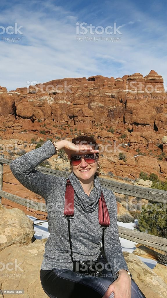 Female Woman Visitor, Fiery Furnace, Arches National Park, Utah stock photo