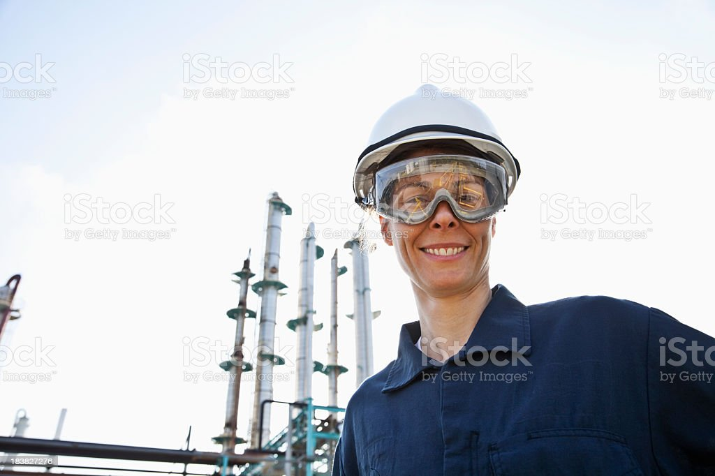 Female worker at industrial plant royalty-free stock photo