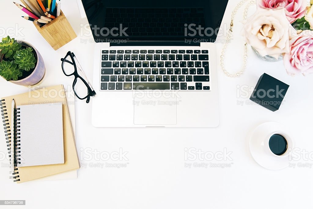 Female worker desktop stock photo