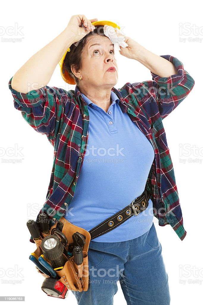 Female Worker - Hot and Tired stock photo
