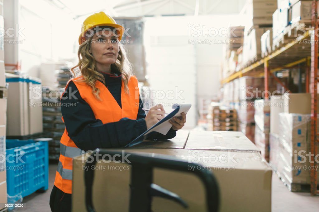 Female worker in warehouse checking merchandise. stock photo