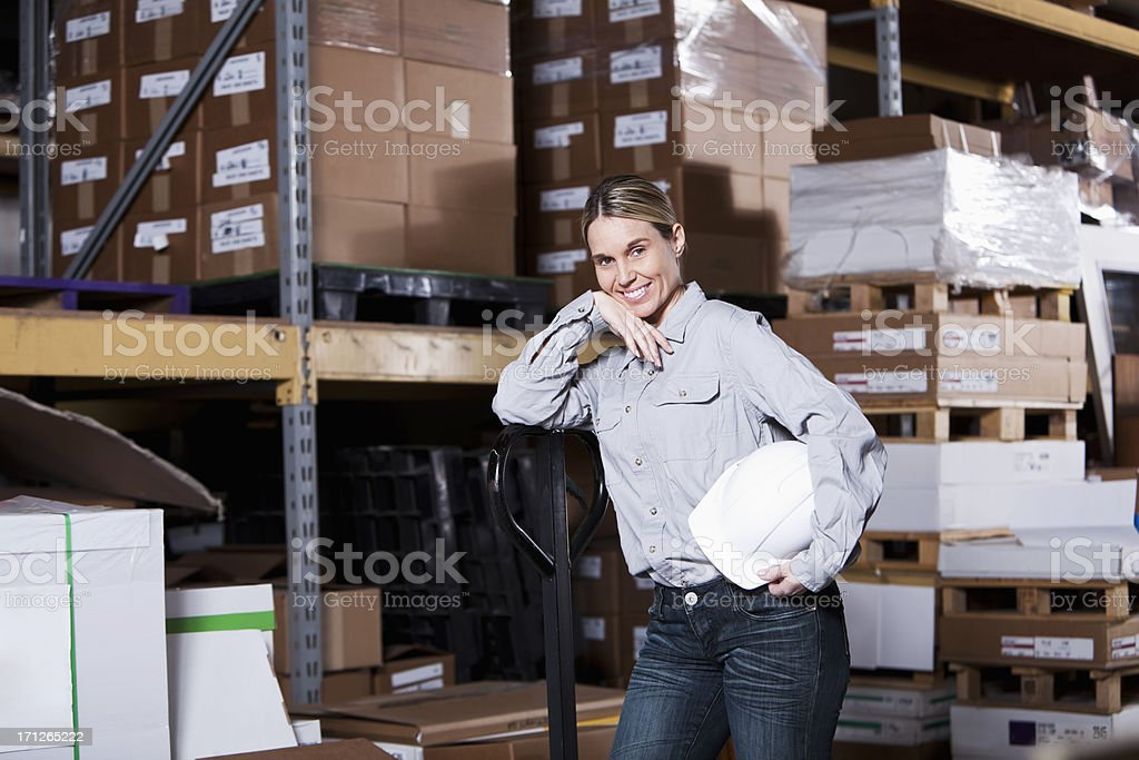 Female worker in warehouse stock photo