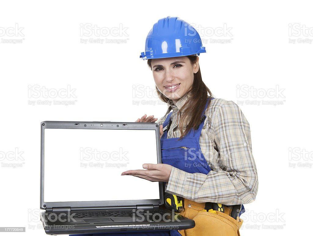 Female Worker Showing Laptop royalty-free stock photo