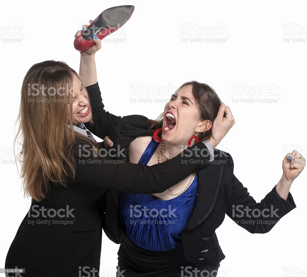 Female Workers Fighting stock photo