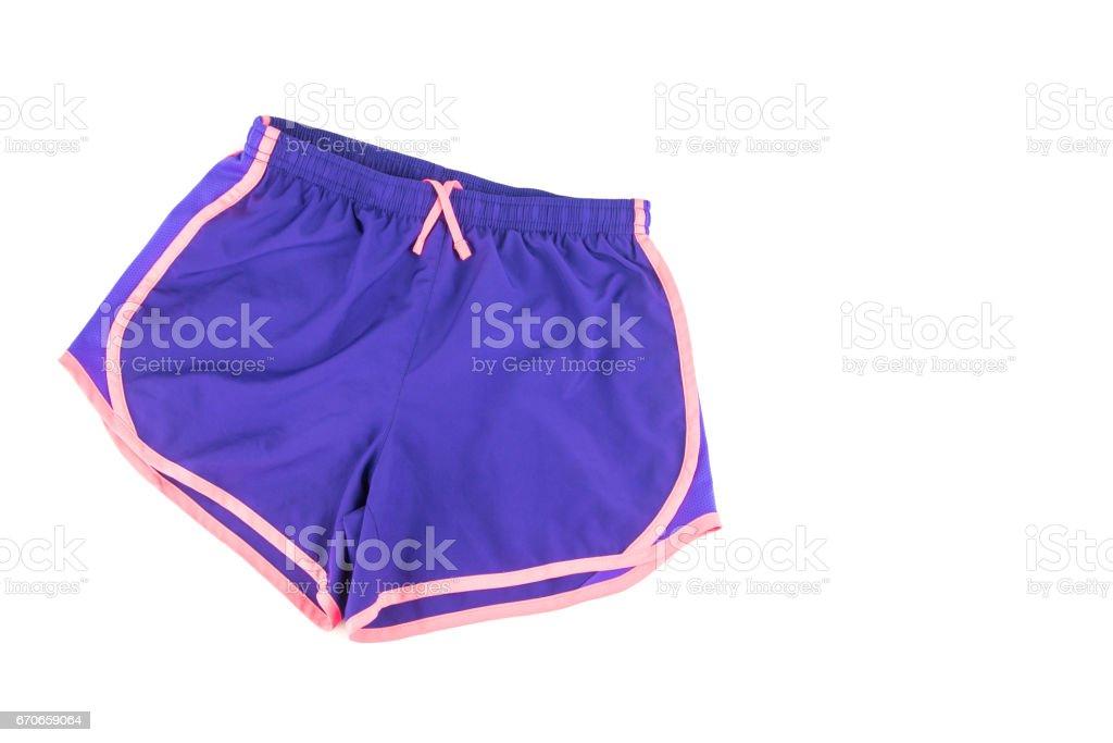 Female workout shorts on a white background. stock photo