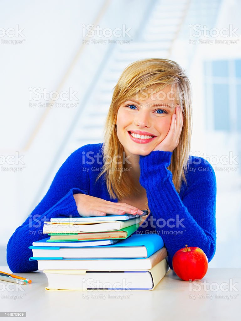 Female young student smiling royalty-free stock photo