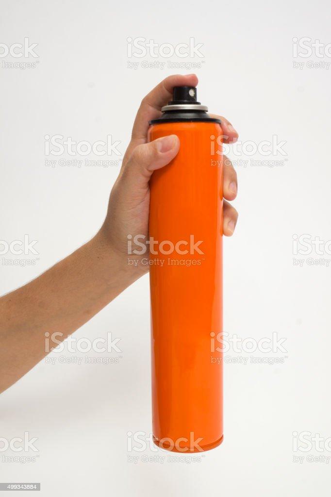 Female's hand ready to spray stock photo