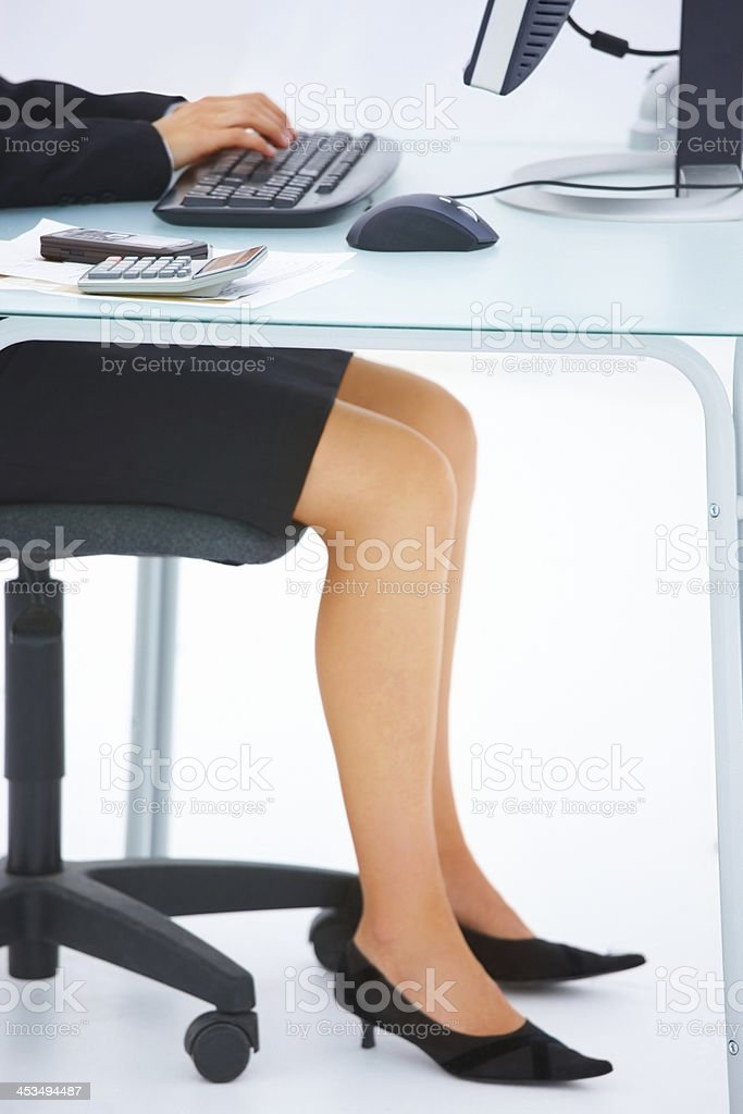 Female's hand typing on a computer keyboard royalty-free stock photo