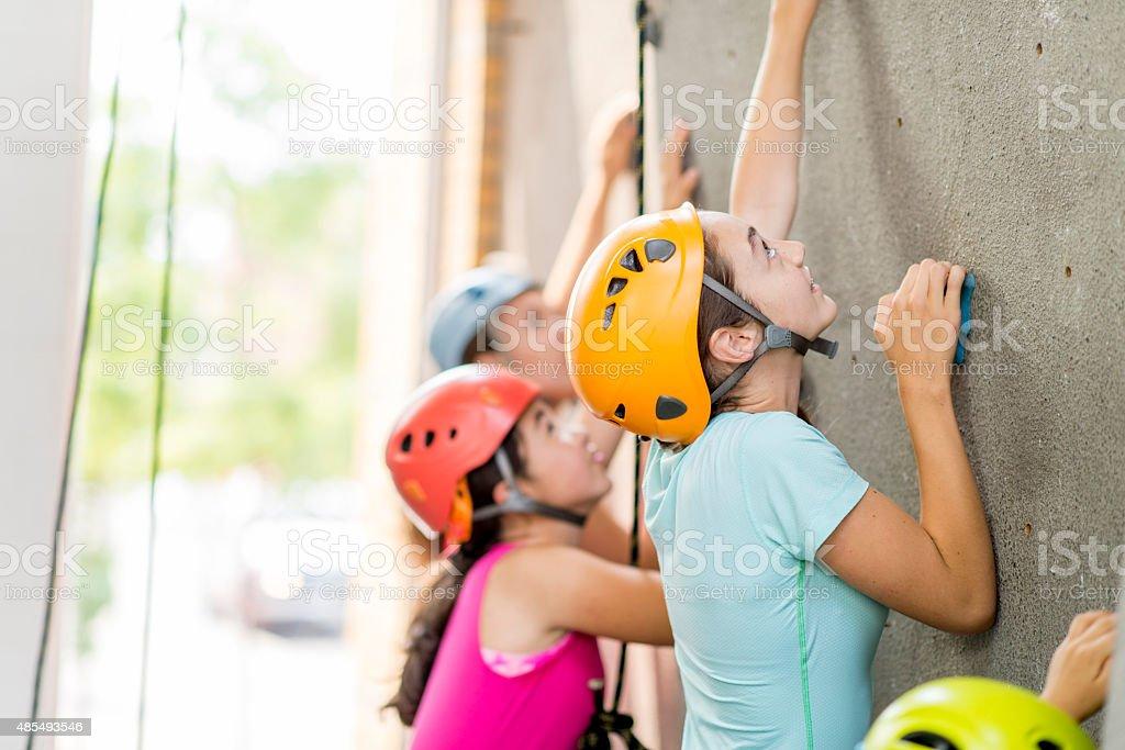 Females Rock Climbing stock photo