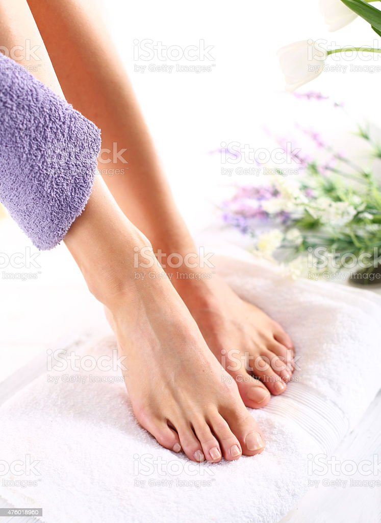 Feminine beauty treatments legs and feet stock photo