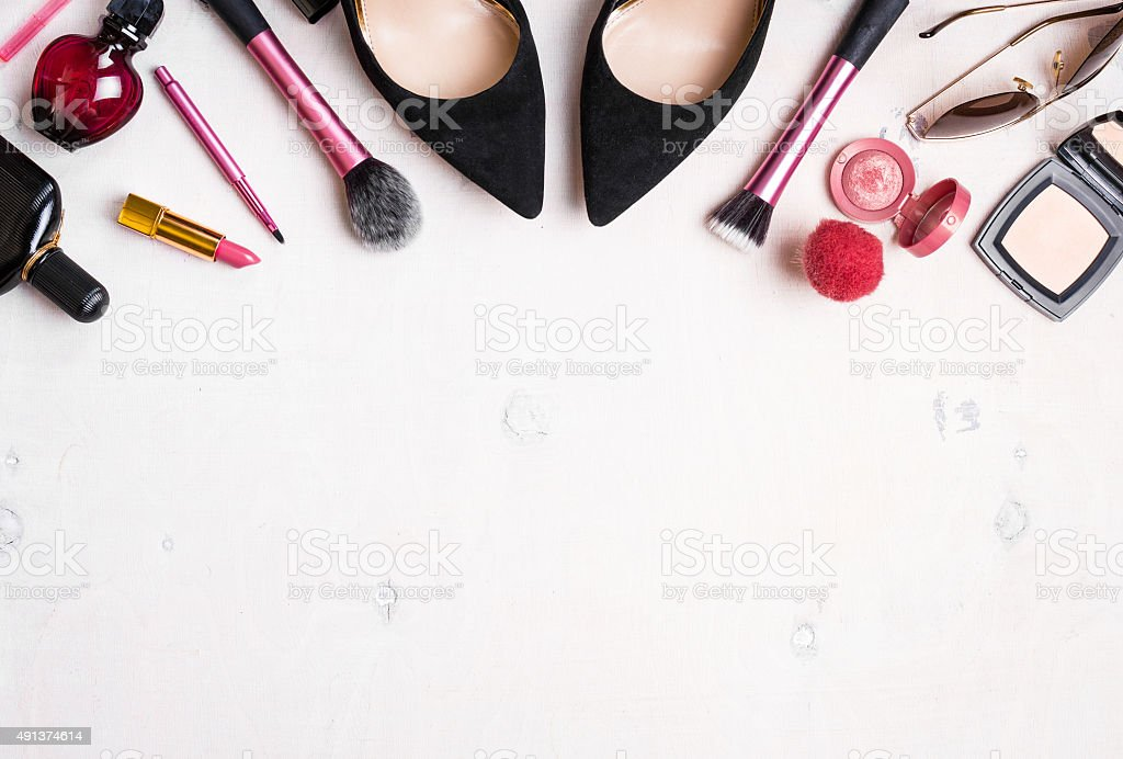 Feminine cosmetic background stock photo