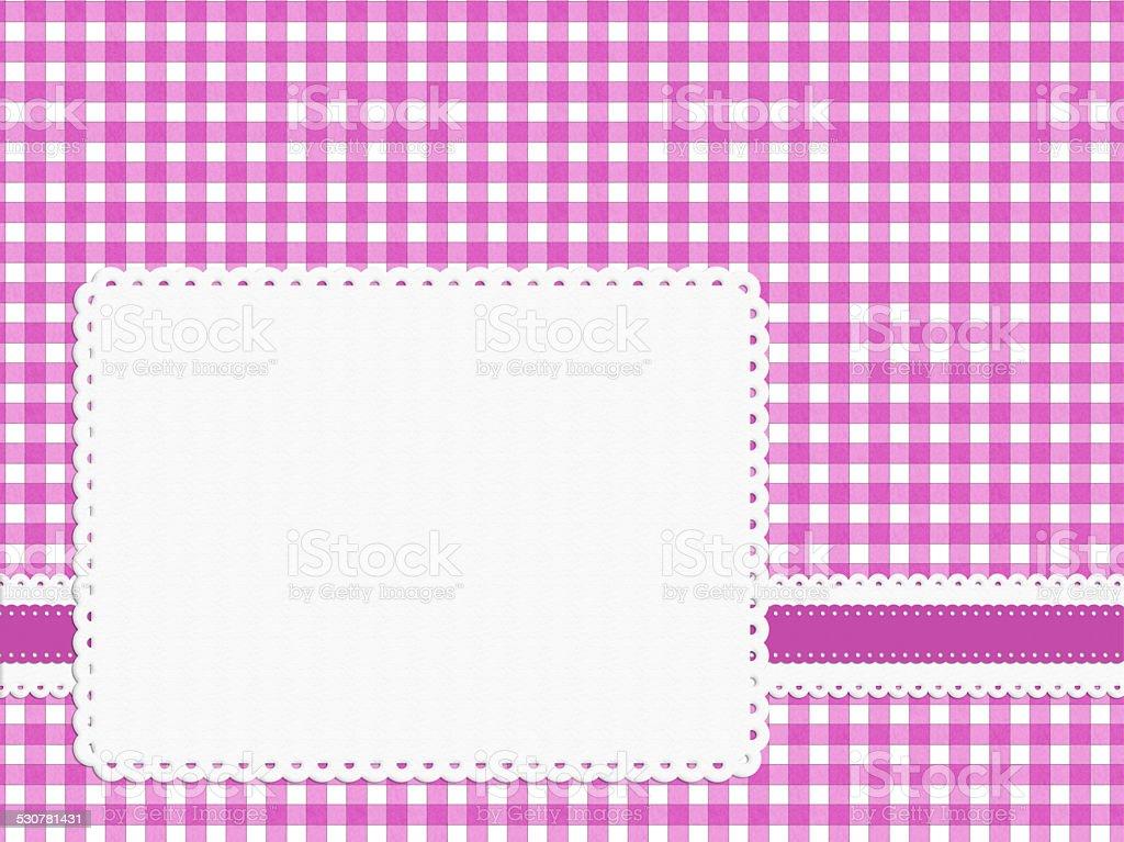 Feminine girly bright pink check gingham fabric background stock photo