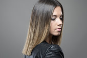 Feminine gorgeous young woman profile with closed eyes