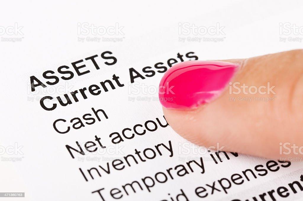 Feminine hand points to word Assets on balance sheet stock photo