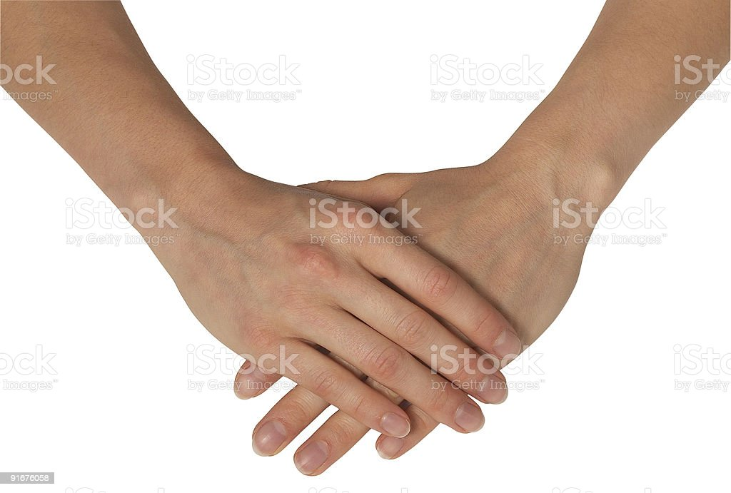 feminine hands on each other royalty-free stock photo