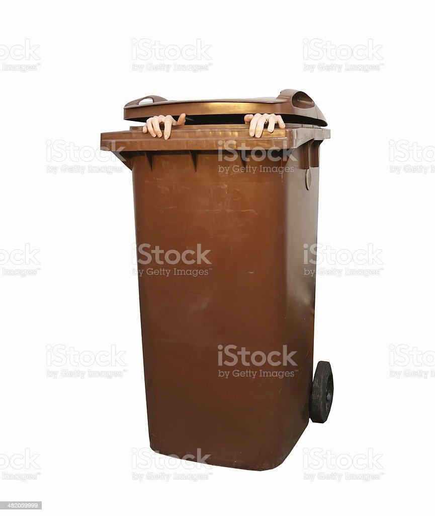 Feminine hands stetch out of a Dustbin/garbage bin. stock photo