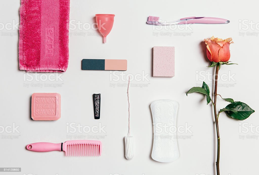 Feminine intimate hygiene set over white background stock photo