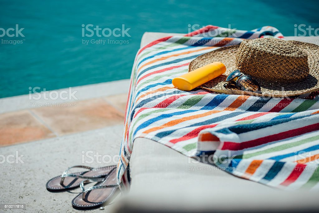 Feminine Pool Necessities stock photo