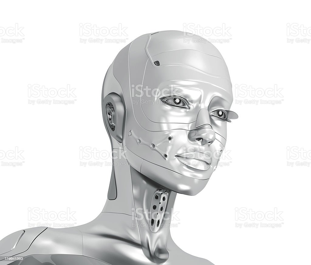 Feminine silver cyborg royalty-free stock photo
