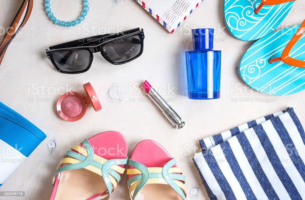Feminine summer set of accesories stock photo
