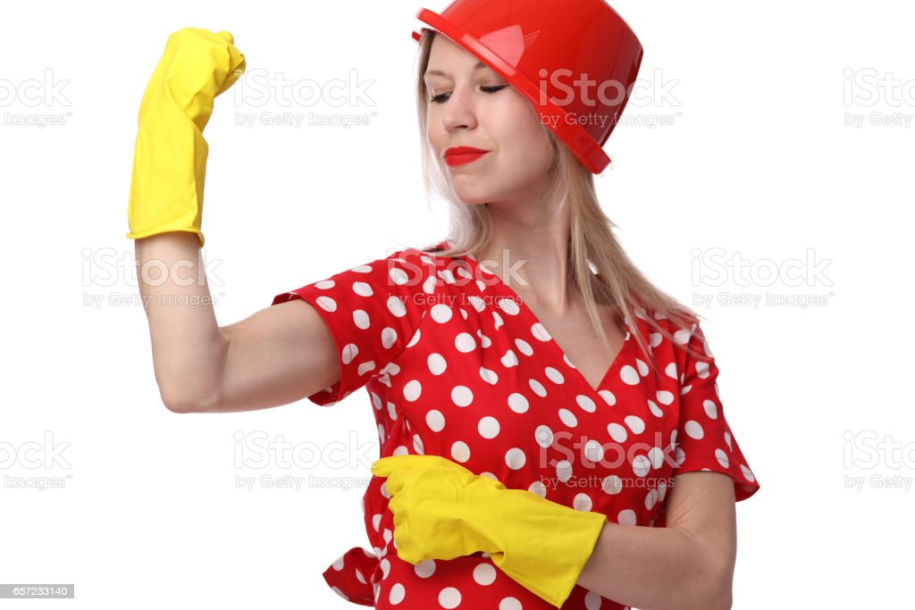 Feminism concept. Funny portrait of strong woman shoving her biceps stock photo