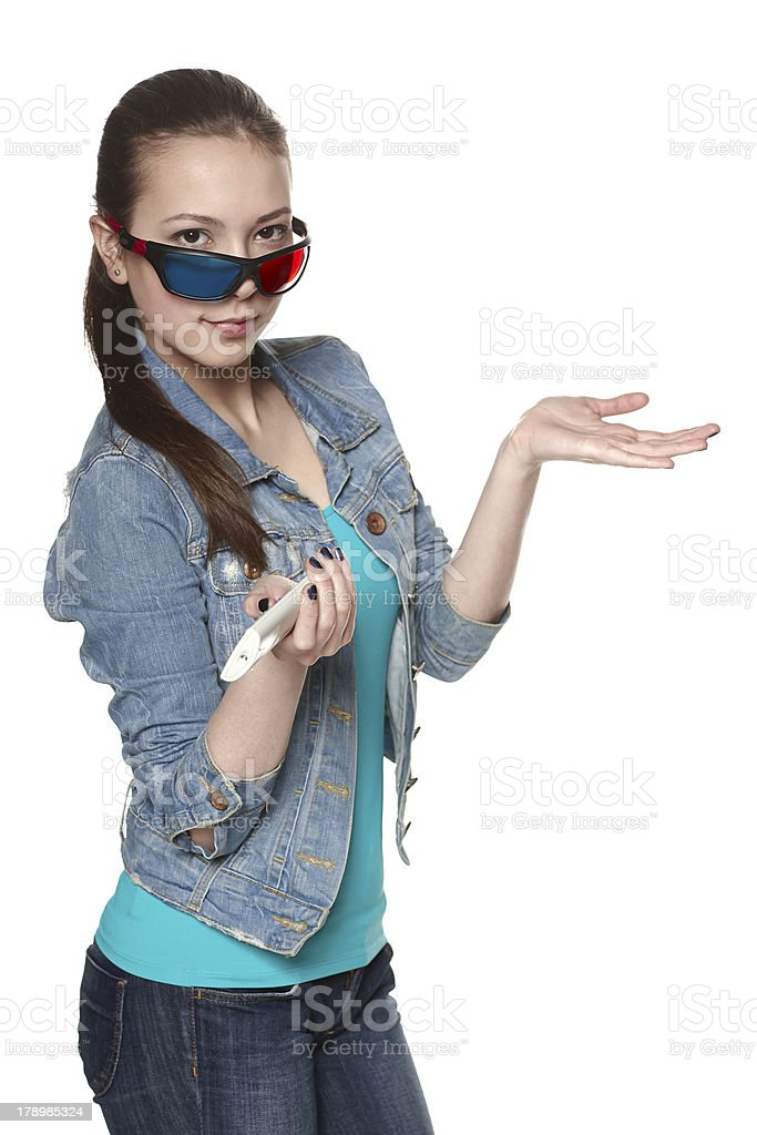 Femmale with 3D glasses showing blank copy space royalty-free stock photo