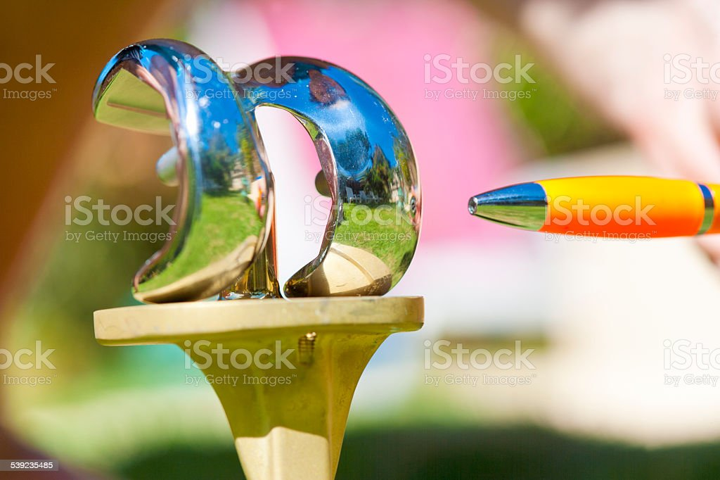 Femoral and tibial part of  total knee prosthesis stock photo