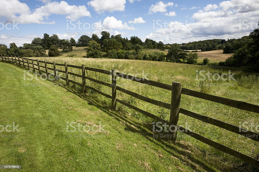 Fence and Field in England stock photo