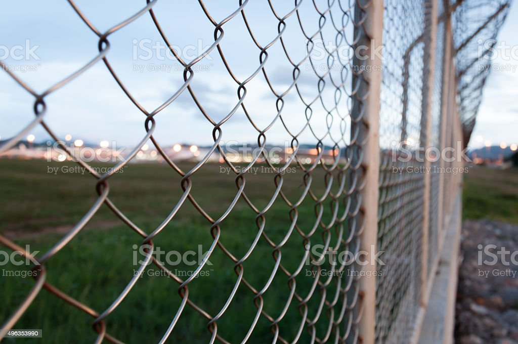Fence around restricted area, Phuket Internatinal Airport, Thail stock photo