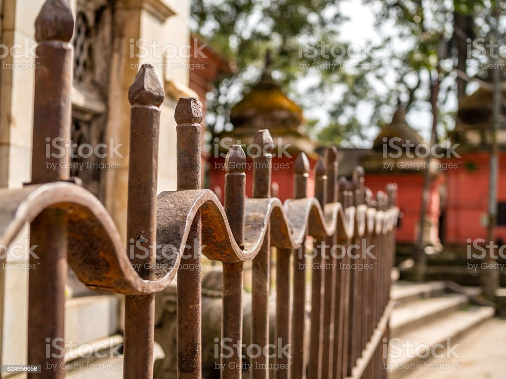 Fence at Temple in Kathmandu, Nepal stock photo