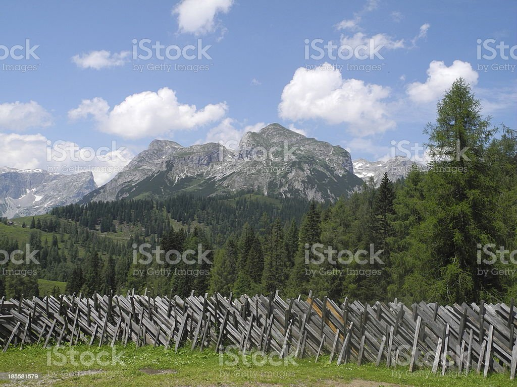 Fence at Tennengebirge, Austria stock photo