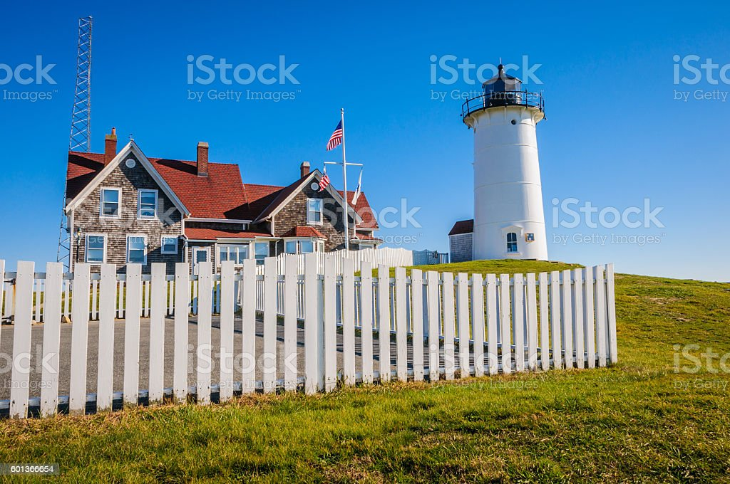 Fence at the Lighthouse stock photo