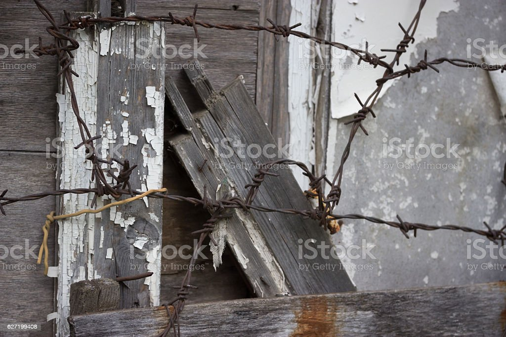 fence barbed wire stock photo