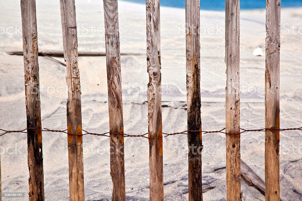 fence for protection of the dunes stock photo