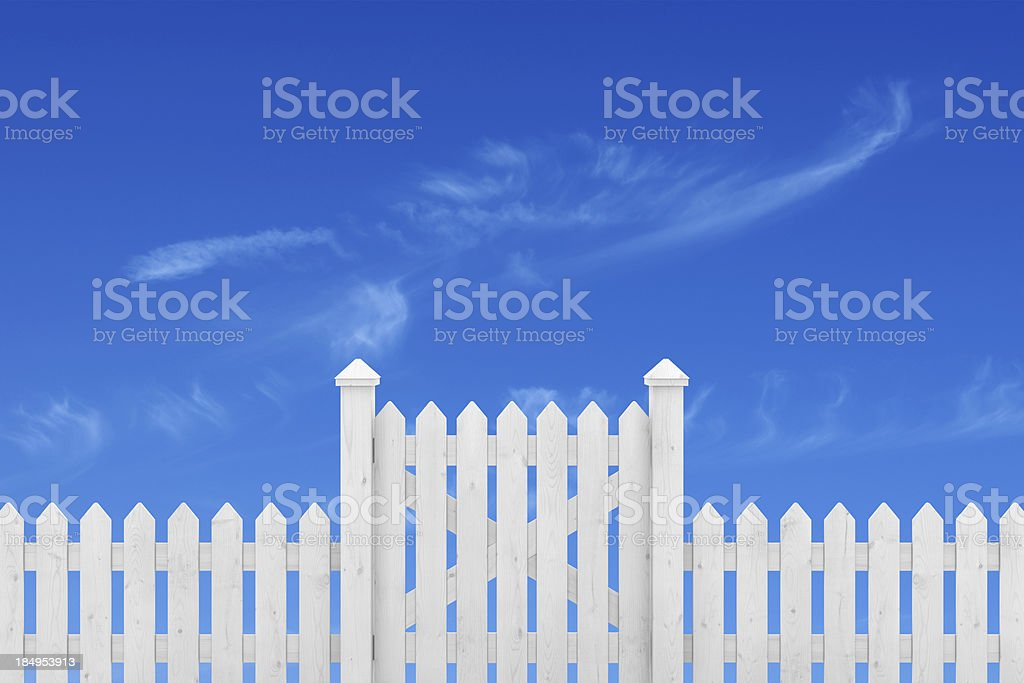 Fence Gate and Sky stock photo