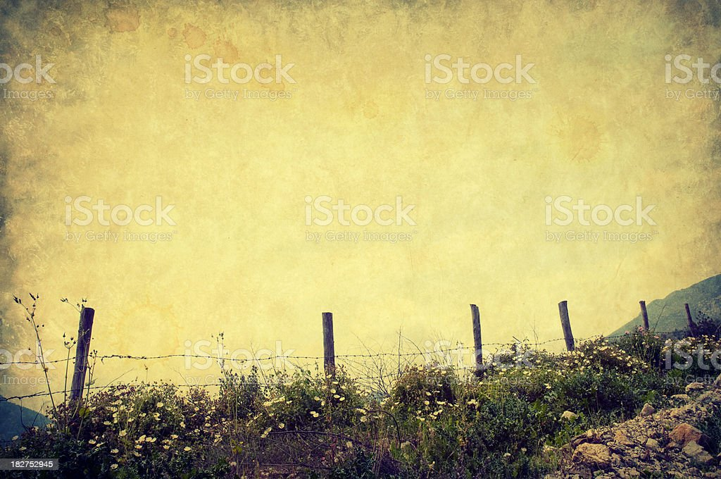 Fence in meadow, retro-style photo royalty-free stock photo