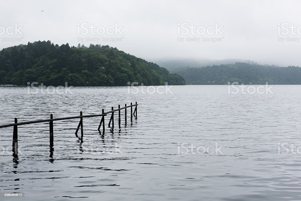 Fence in Rural Lake stock photo