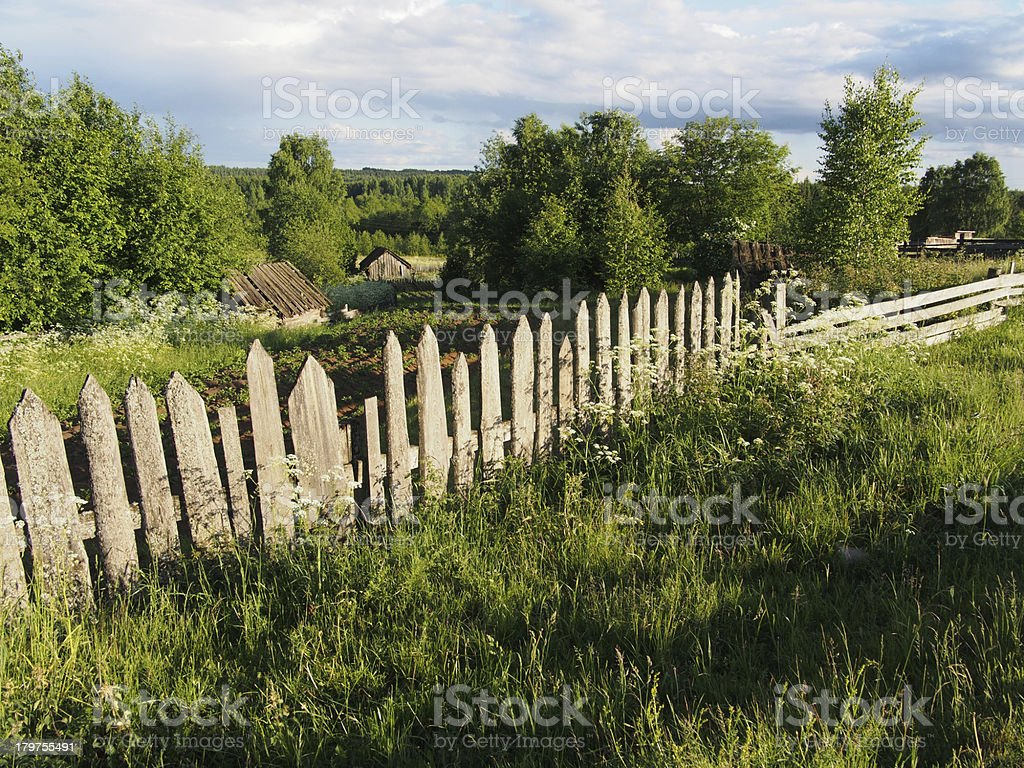 fence in the countryside royalty-free stock photo