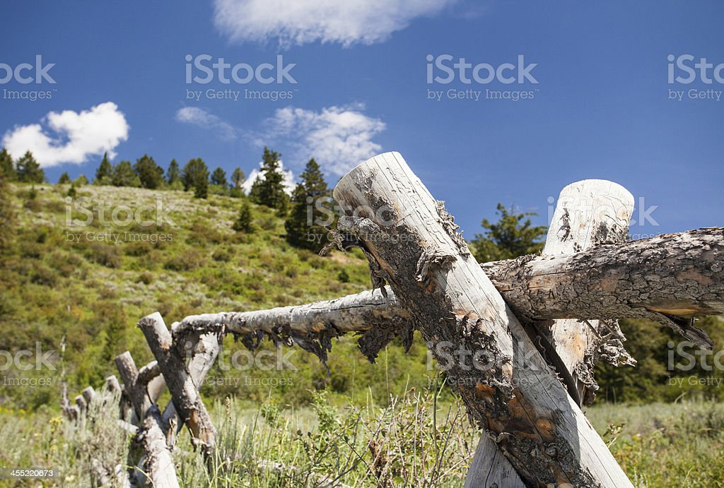 Fence in the Mountains stock photo