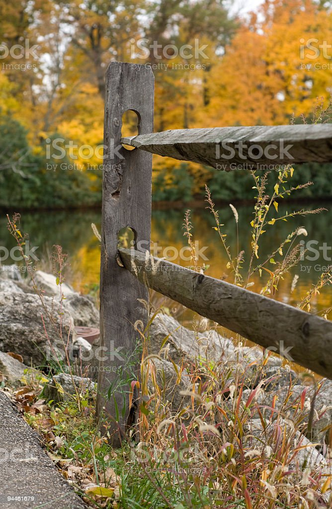 fence lake trees with reflections in water stock photo