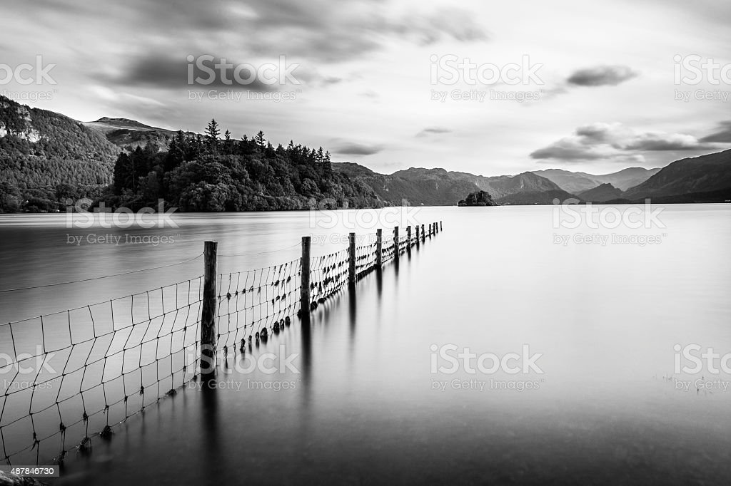 Fence Leading Out To Lake At Derwentwater In Keswick. stock photo