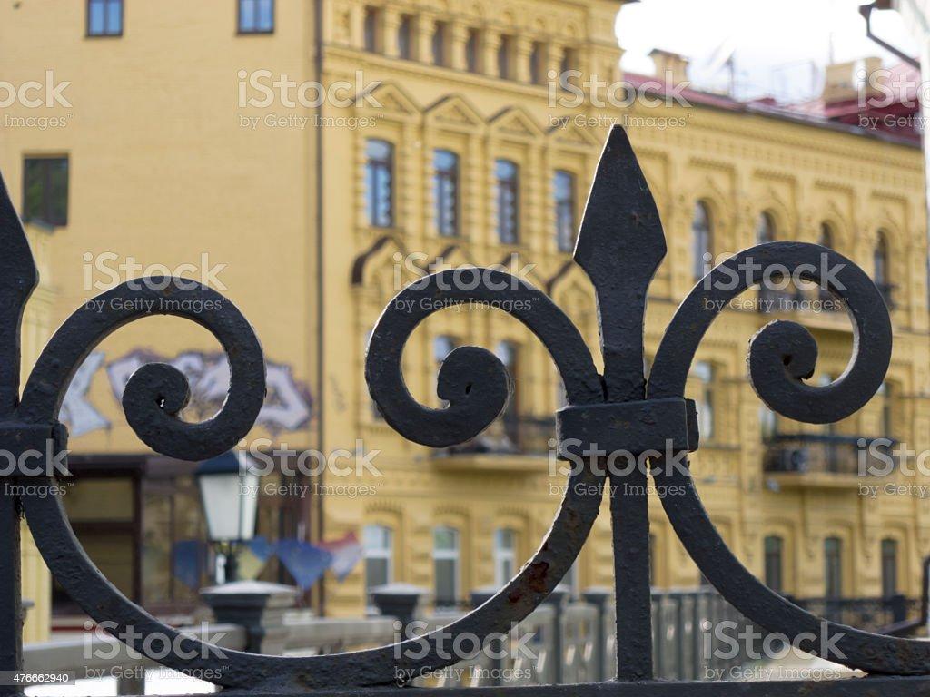 fence of cast iron, Kiev, Ukraine. stock photo